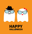 happy halloween ghost spirit family couple with vector image vector image