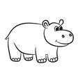 hippo black and white vector image vector image