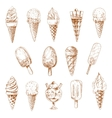 Ice cream desserts isolated sketches vector image vector image