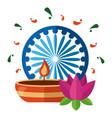 indian lotus flower with candle and ashoka chakra