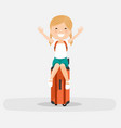 isolated happy girl on an orange suitcase on a vector image vector image
