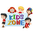 kids zone with international kids vector image vector image