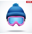 Knitted woolen blue cap with snow goggles Winter vector image vector image