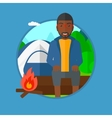 Man sitting on log in the camping vector image vector image