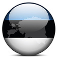 Map on flag button of Republic of Estonia vector image vector image