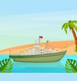 maritime ships at sea sailing yacht near tropical vector image