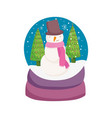 merry christmas celebration snowglobe with snowman vector image vector image