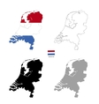Netherlands country black silhouette and with flag vector image