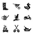 peasant farm icons set simple style vector image vector image