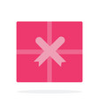 pink gift box with ribbon flat material design vector image