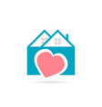 real estate house icon heart logo with shadow vector image vector image