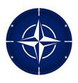 round metallic flag of nato with screws vector image