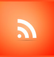 rss icon isolated on orange background radio vector image vector image