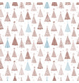 seamless pattern with doodle christmas trees can vector image