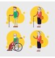 set elderly characters older people set vector image