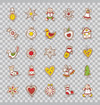 set of christmas iconsstarbellwreathapplesock vector image vector image