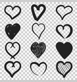 set of the hand drawn hearts icon love sketch vector image