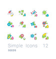 set simple line icons seeds vector image vector image