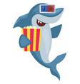 shark with popcorn on white background vector image vector image
