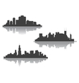 silhouettes downtown cityscape vector image