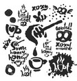 tea sketches and calligraphy set vector image