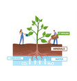 tiny characters fertilizing and watering huge vector image