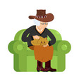 western grandmother cowboy and cat sitting on vector image vector image