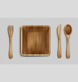 wooden plate fork spoon and knife top view vector image vector image