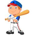 Cartoon kid holding the playing baseball vector image