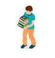 a boy with books in his hands vector image vector image