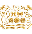 a set of gold ribbons vector image vector image