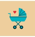 baby stroller with cartoon heart image vector image