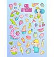 brave cute fashion princess cartoon sticker vector image vector image