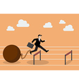 Businessman jumping over hurdle with the weight vector image vector image