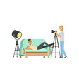 cartoon guy model character posing lying on couch vector image vector image