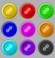 Chain Icon sign symbol on nine round colourful vector image vector image