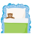 children bed with a favorite toy teddy bear vector image vector image
