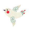 christmas vintage dove xmas template vector image vector image
