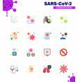 covid19-19 icon set for infographic 16 flat color vector image vector image
