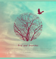 crows and tree banner vector image vector image