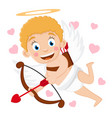 cupid flies with a bow and arrows and smiles on a vector image vector image