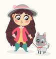 cute baby girl with little cat childish style vector image