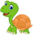 Cute cartoon green turtle vector image vector image