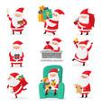 cute santa christmas santa clauses with funny vector image vector image