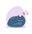 cute sleeping fatty smokey blue vector image