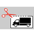 delivery coupon with scissors and truck vector image vector image