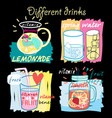 Different fruit drinks Hand drawn style vector image vector image