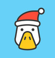 duck face with santa hat filled style icon vector image vector image