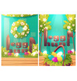 easter egg hunt cartoon posters with rabbit ears vector image