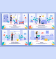 executive cleaning service flat banners set vector image
